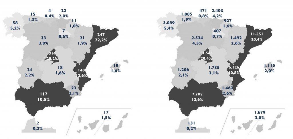 Mapa de España - Informe de las franquicias 2016